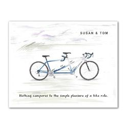 Racin' Blue Tandem Bike Personalized Print