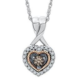 Sparkling Champagne and White Diamond Heart Pendant