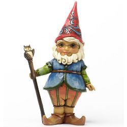 Gnome with Owl Cane Statue