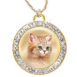 A Cat is a Friend Fur-Ever Pendant with Swarovski Crystals