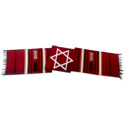 Star of David on Red Cotton Table Runner
