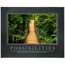 Possibilities Wooden Bridge Framed Motivational Poster