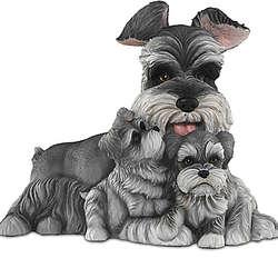 Schnauzer Kisses Mama Dog and Puppies Sculpture