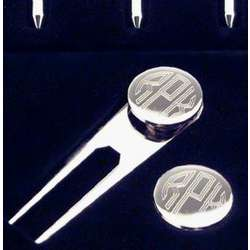 Engravable Silver Golf Tee and Ball Marker Set
