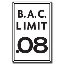 B.A.C. Limit .08 Wooden Sign