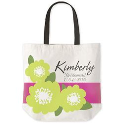 Personalized Green Floral Tote Bag