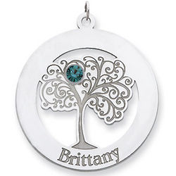 Sterling Silver Family Tree Circle Pendant with One Stone