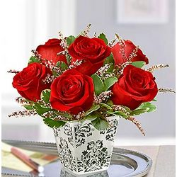 Candlelight Night in Paris Red Roses Bouquet