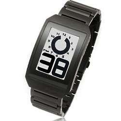 Curved E-Ink Digital Watch with Black Stainless Steel Band