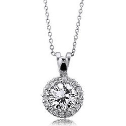 Sterling Silver 925 Cubic Zirconia Solitaire Gemstones Pendant