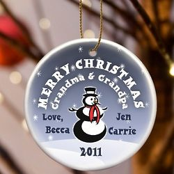 Merry Christmas Snowman Ornament