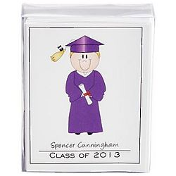 Purple Gown Grad Character Note Cards