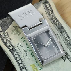 Timeless Watch Engraved Money Clip