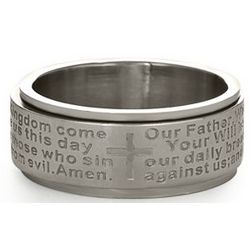 Personalized Lord's Prayer Stainless Steel Spinner Ring