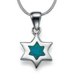 Silver and Blue Opal Star of David Necklace