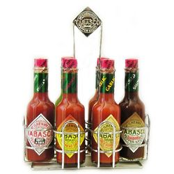Tabasco Chrome Caddy with 6 Family Flavors
