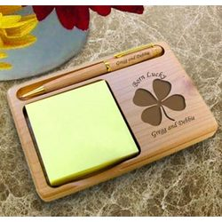 Personalized Lucky Four Leaf Clover Wooden Notepad & Pen Holder