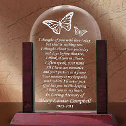 Personalized Remembrance Butterfly Glass Arch Plaque
