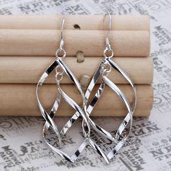 Silver Double Diamond Drop Earrings
