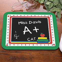 Chalkboard Design Personalized Teacher Mouse Pad
