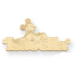 14K Yellow Gold Personalized Mickey Mouse Name Pendant