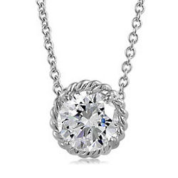 Sterling Silver Round Cubic Zirconia Solitaire Weave Pendant