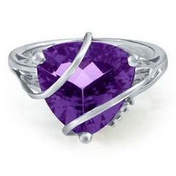 Sterling Silver Amethyst and Diamond Wrap Ring
