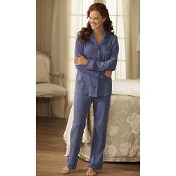 Women's Full-Button Front Tailored Pajamas