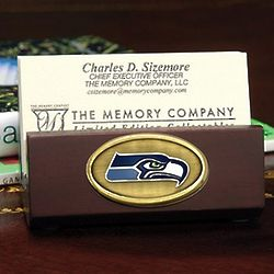 Seattle Seahawks Wooden Business Card Holder