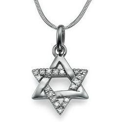 Cubic Zirconia Jewish Star of David Necklace