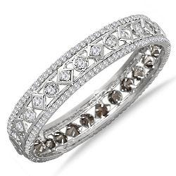 White Electroplated White Crystal Estate Bangle Bracelet