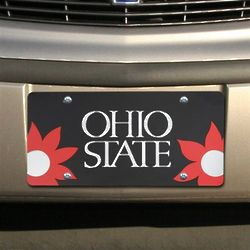 Ohio State Buckeyes Black Mirrored Flower Power License Plate
