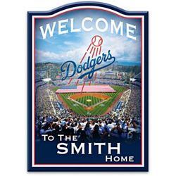 LA Dodgers Wooden Welcome Sign with Personalized Name