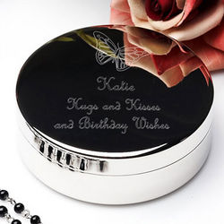 Personalized Butterfly Silver Jewelry Box