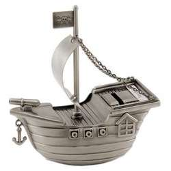 Pewter Pirate Ship Bank