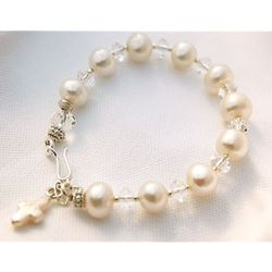 White Fresh Water Pearls & Crystal Rosary Bracelet