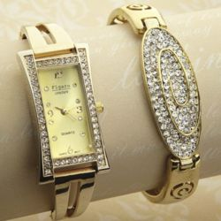 Crystal Watch and Bangle Bracelet Gift Set