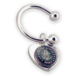 Engraved Army Military Service Heart Key Chain