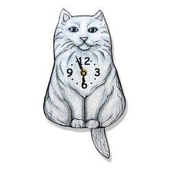 Tail-Swinging White Cat Pendulum Clock
