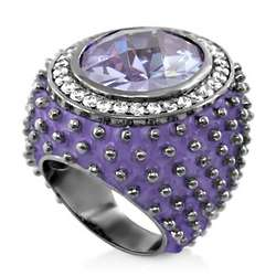 Oval CZ Lavender Enamel Cocktail Ring