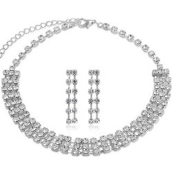 Silver Tone Rhinestone Choker Necklace and Earrings