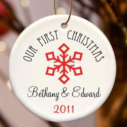 Our First Christmas Personalized Snowflake Ornament