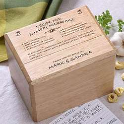 Personalized Recipe for a Happy Marriage Recipe Box and Cards