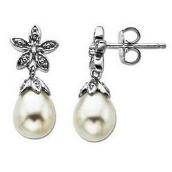 Freshwater Cultured Pearl Dangle Earrings with Diamond Accents