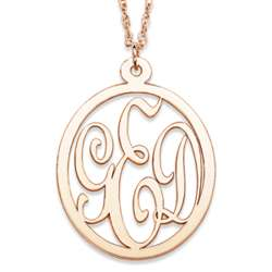 14K Gold 3-Initial Oval Monogram Necklace