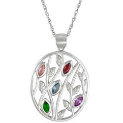 Sterling Silver Oval Leaf Marquis Birthstone Family Necklace
