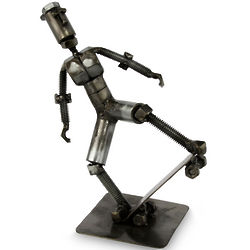 Skater Boy Recycled Metal Statuette