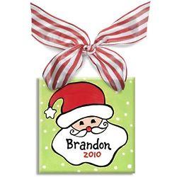 Personalized Boy's Santa Tile Ornament