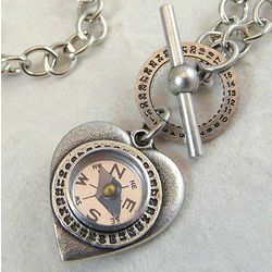 Heart and Compass Necklace