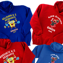Personalized Adult Elmo and SpongeBob Graduation Hoodie